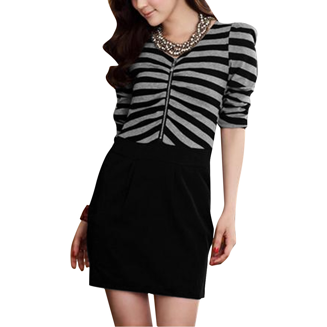 Women's Long Sleeves Elastic Striped Comfortable Dark Gray XS Dress
