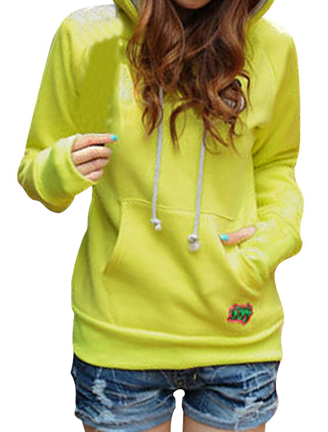 Women's Long Sleeves Pullover Panda Pattern Warm Yellow Hoodie S