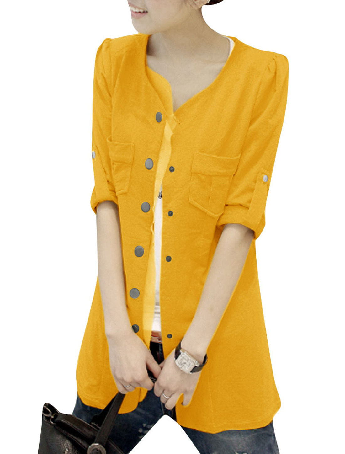 Women's Button Front w Pockets Puff Sleeves Spring Yellow XS Thin Coat