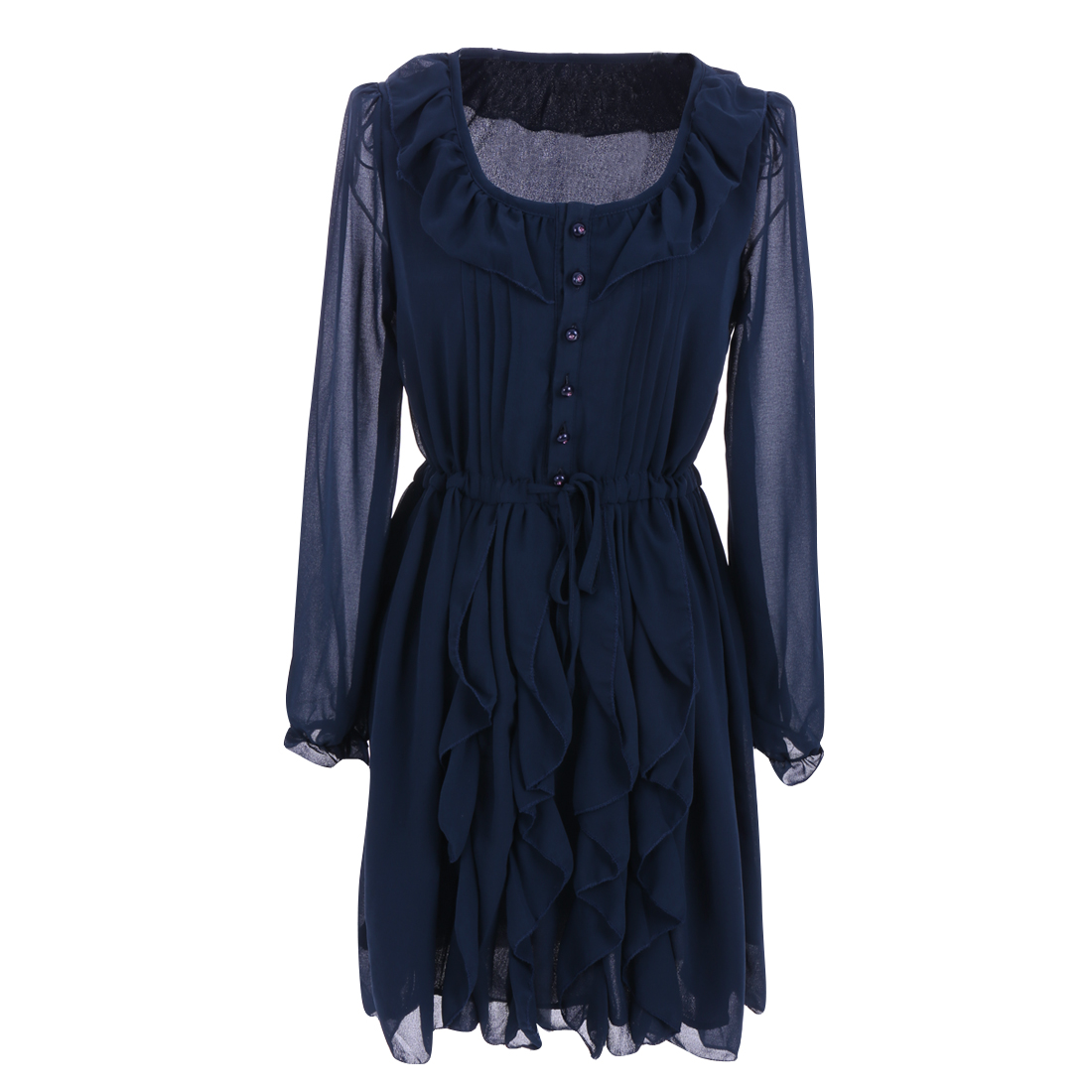 Women Round Neck Long Sleeve Elastic Cuffs Dress Navy Blue XS