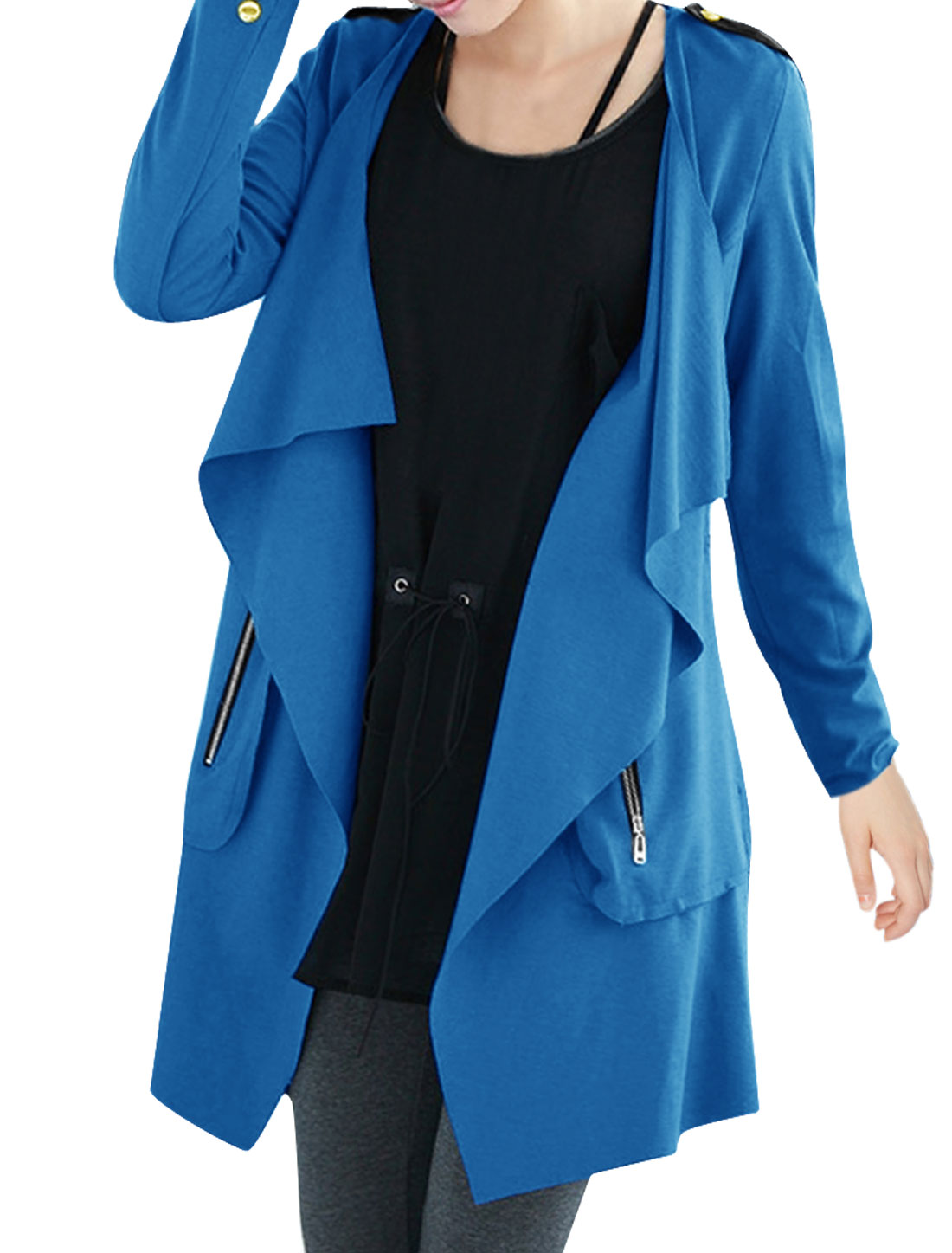 Women Open Front Long Sleeve Zip Up Pockets Jacket Turquoise S