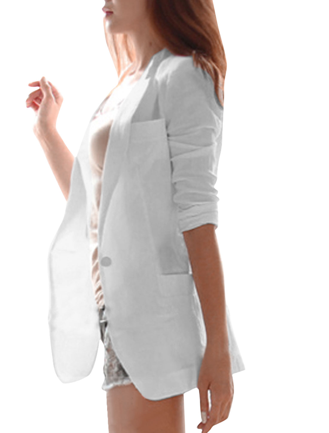 Women S White Notched Lapel Long Sleeve Button Closure Casual Blazer