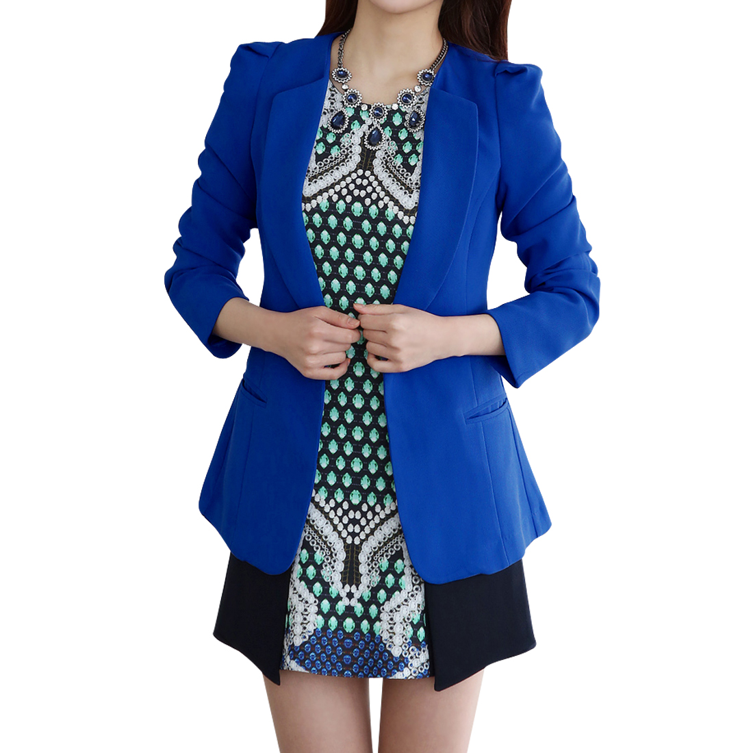 Women Fashionable Peaked Lapel Slim Fit Blazer Royal Blue XS