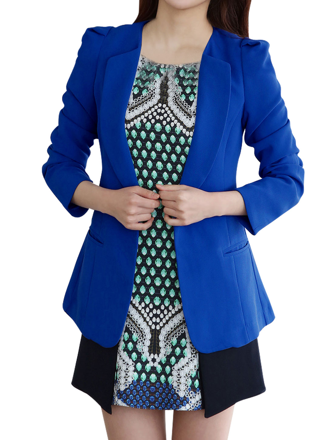 Women Peaked Lapel Open Front Slim Fit Blazer Royal Blue S