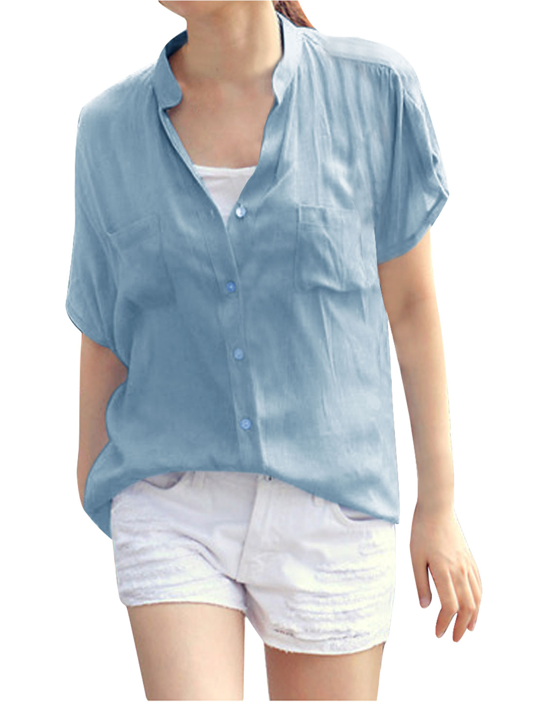 Woman Chic V-Neck Short Dolman Sleeve Button Down Light Blue Blouse S