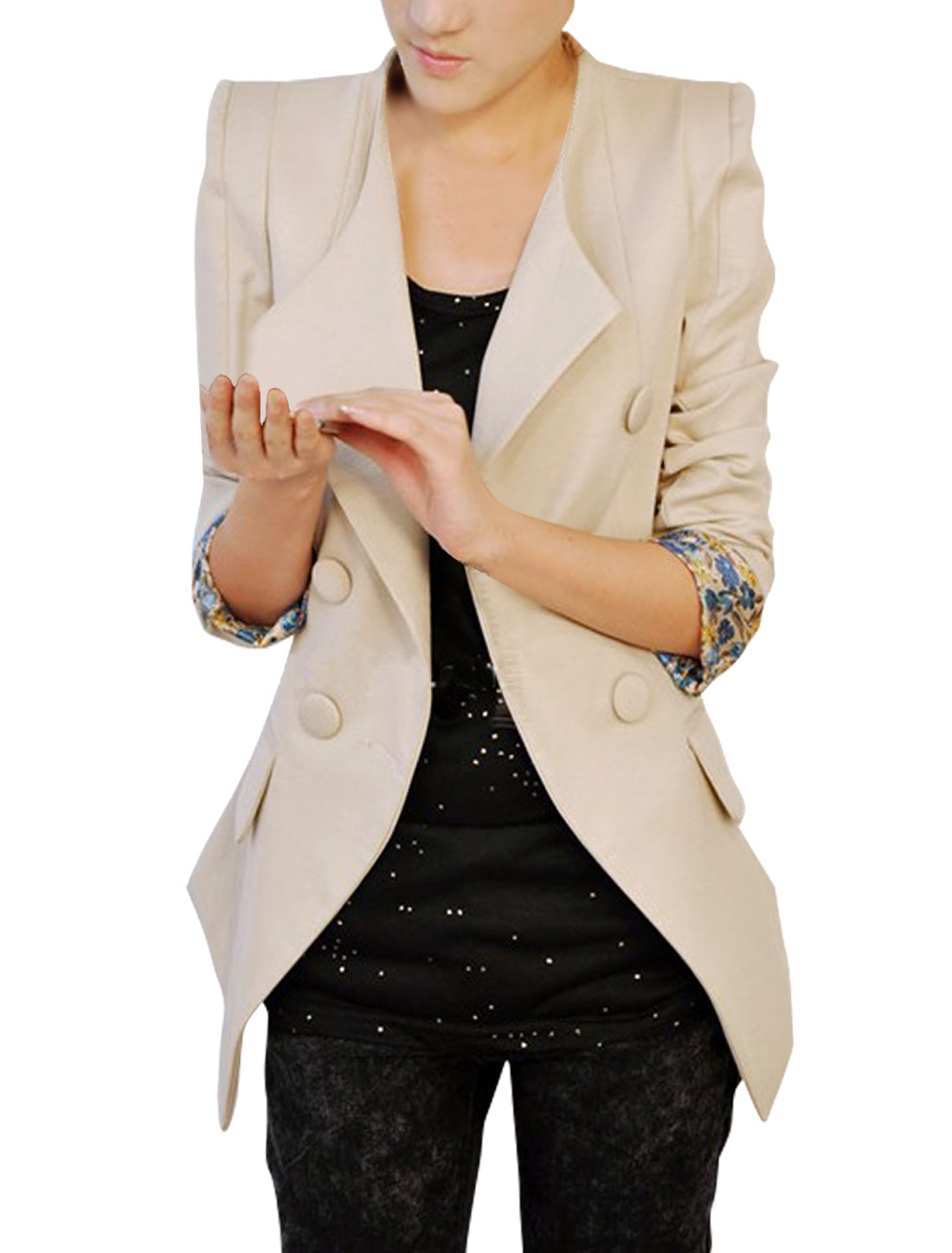 Women Double Breasted Long Sleeve Padded Shoulder Blazer Beige S