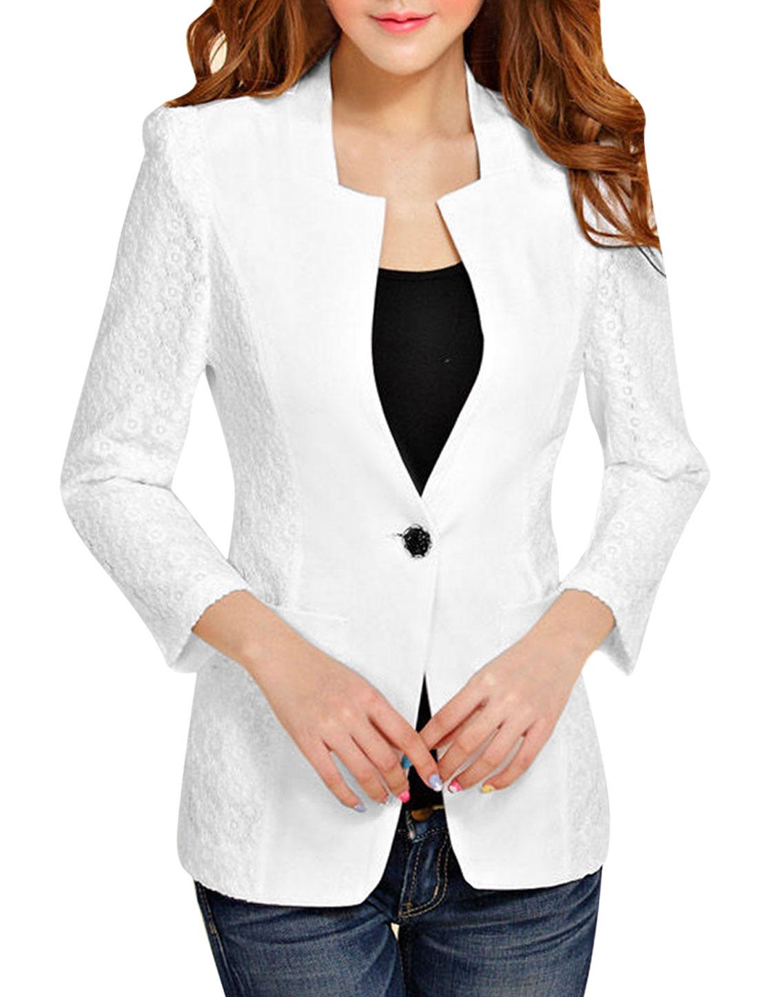 Women S White Collarless Button Closure 3/4 Sleeve Slim Fit Casual Blazer