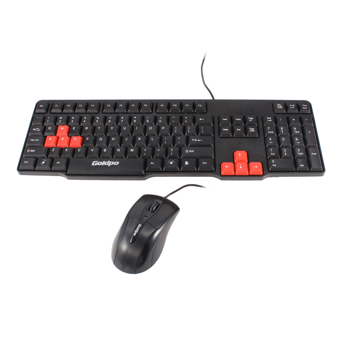 Black Orange Desktop Computer Plastic PS/2 Wired Keyboard + USB 2.0 Mouse
