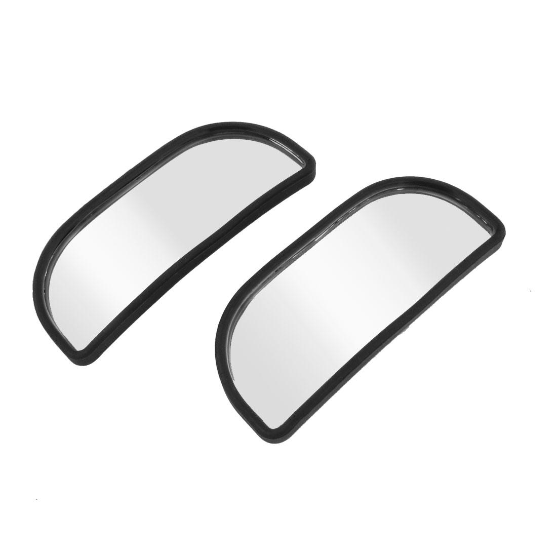 2pcs Black Plastic Frame Blind Spot Mirror Sticker 8.5cm Long for Car