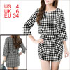 Women White Black S Houndstooth Pattern Round Neck Top w Elastic Waist Skirt