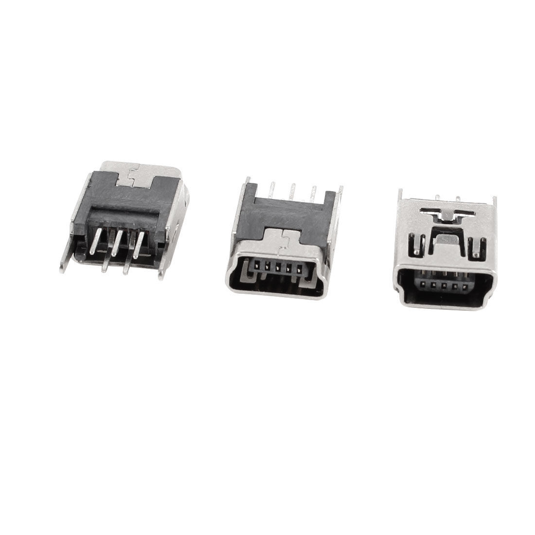 3 Pcs Mini USB Type B Female Socket 5-Pin 180 Degree DIP Jack Connector