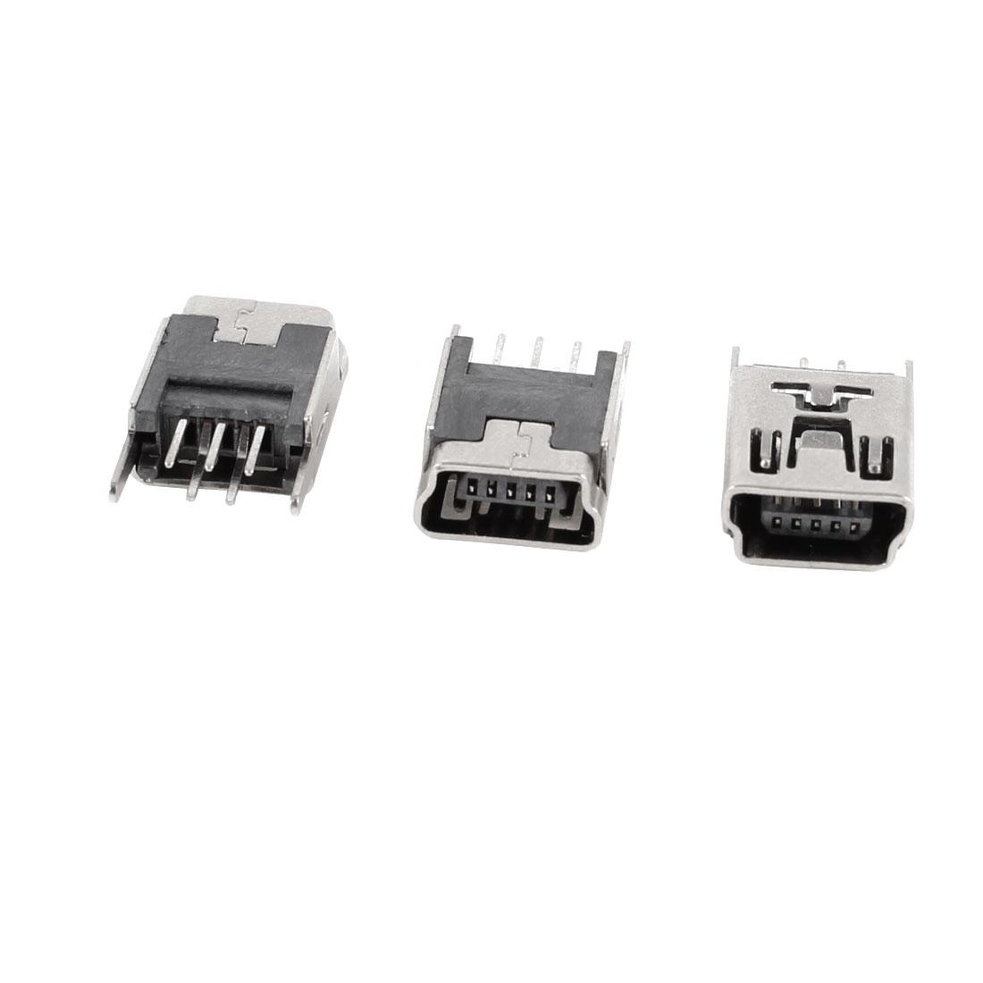 3 Pcs Mini USB Type B Female Socket 5-Pin 180 Degree DIP Jack Connector