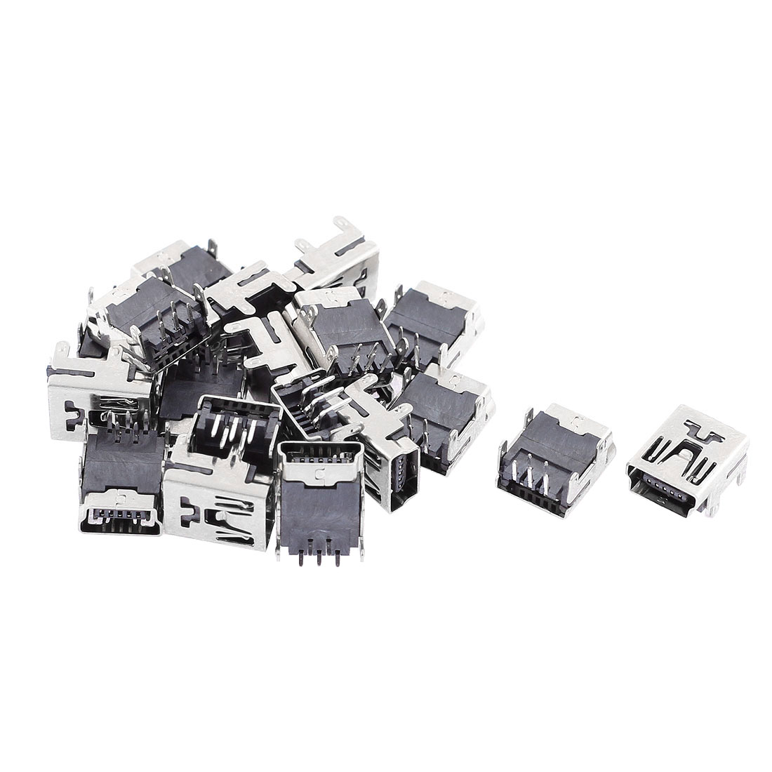 20 Pcs Mini USB Type B Female Socket 5-Pin Right Angle DIP Jack Connector