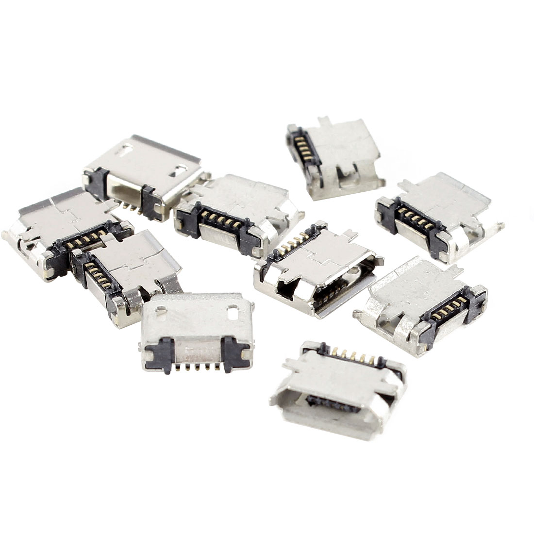 10 Pcs Micro USB Type B Female Socket 180 Degree 5-Pin SMD SMT Solder Connector
