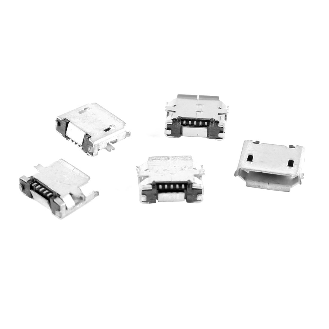5 Pcs Micro USB B Female Socket 180 Degree 5-Pin SMD SMT Jack Solder Connector