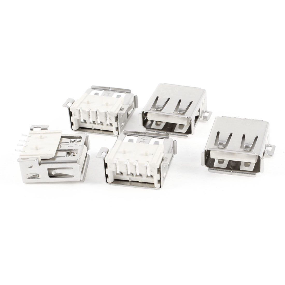 5 Pcs Shielded USB A Female 180 Degree 4-Pin SMD SMT Jack Soldering Socket