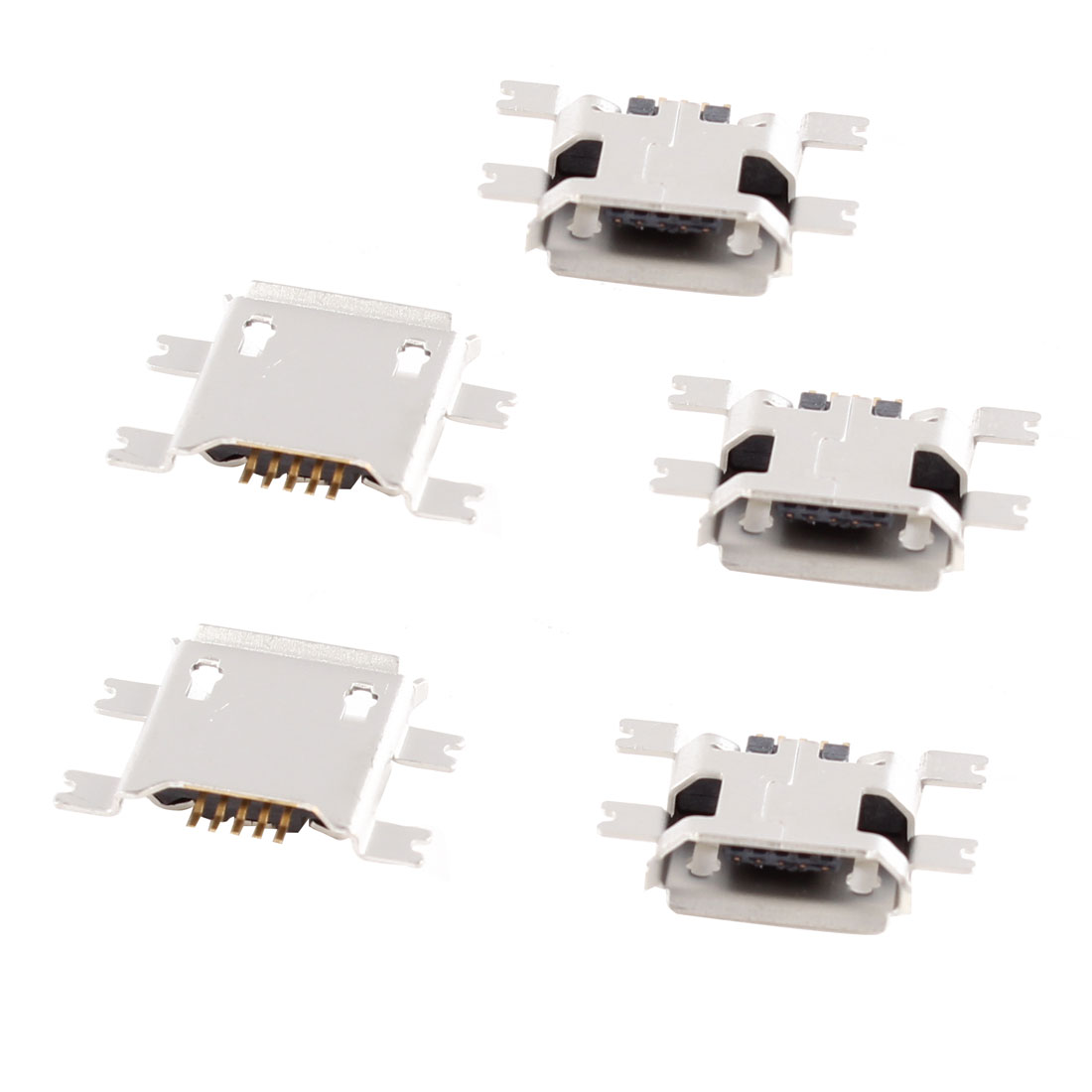 5 Pcs Micro USB Type B Female Socket 180 Degree 5-Pin SMD SMT Jack Connector