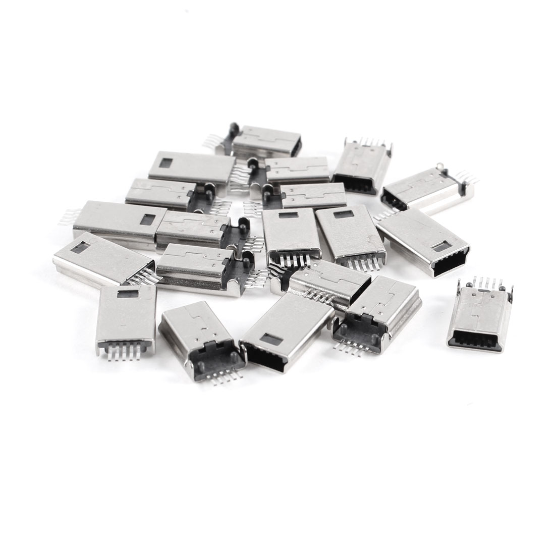 20 Pcs Mini USB Type B Male 180 Degree 5-Pin SMD SMT Solder Jack Connector