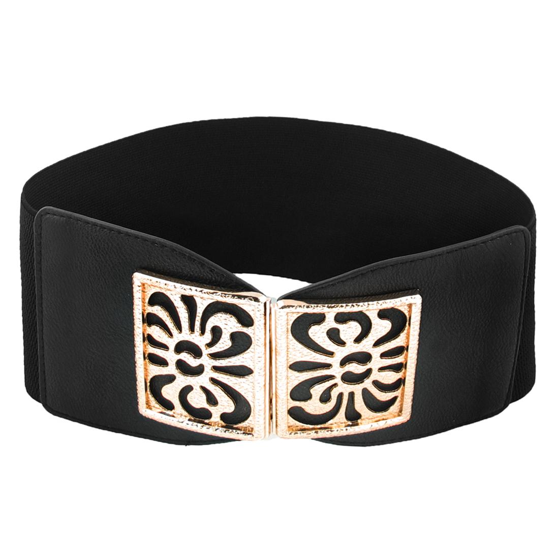 Lady Rectangle Interlocking Buckle Stretch High Waist Belt 10cm Width Black