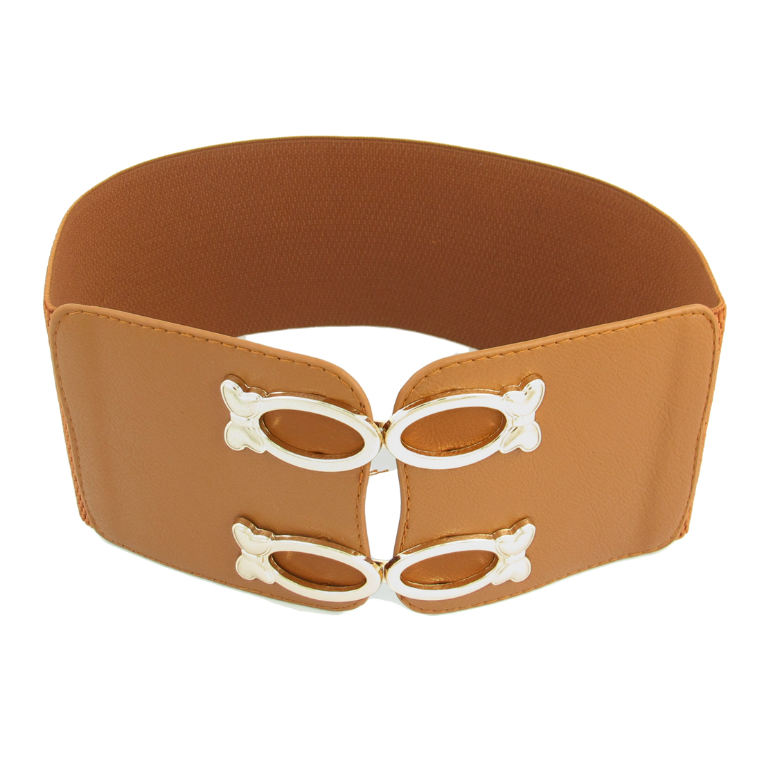 Metal Double Interlocking Buckle Adornment Elastic Waist Belt Brown for Women