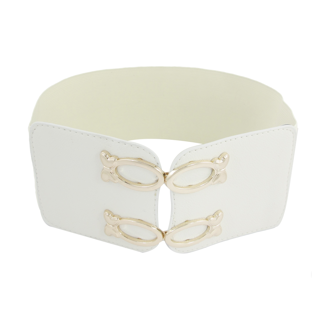 White Double Buckle Adornment Strechy Band Waist Belt Textured for Women