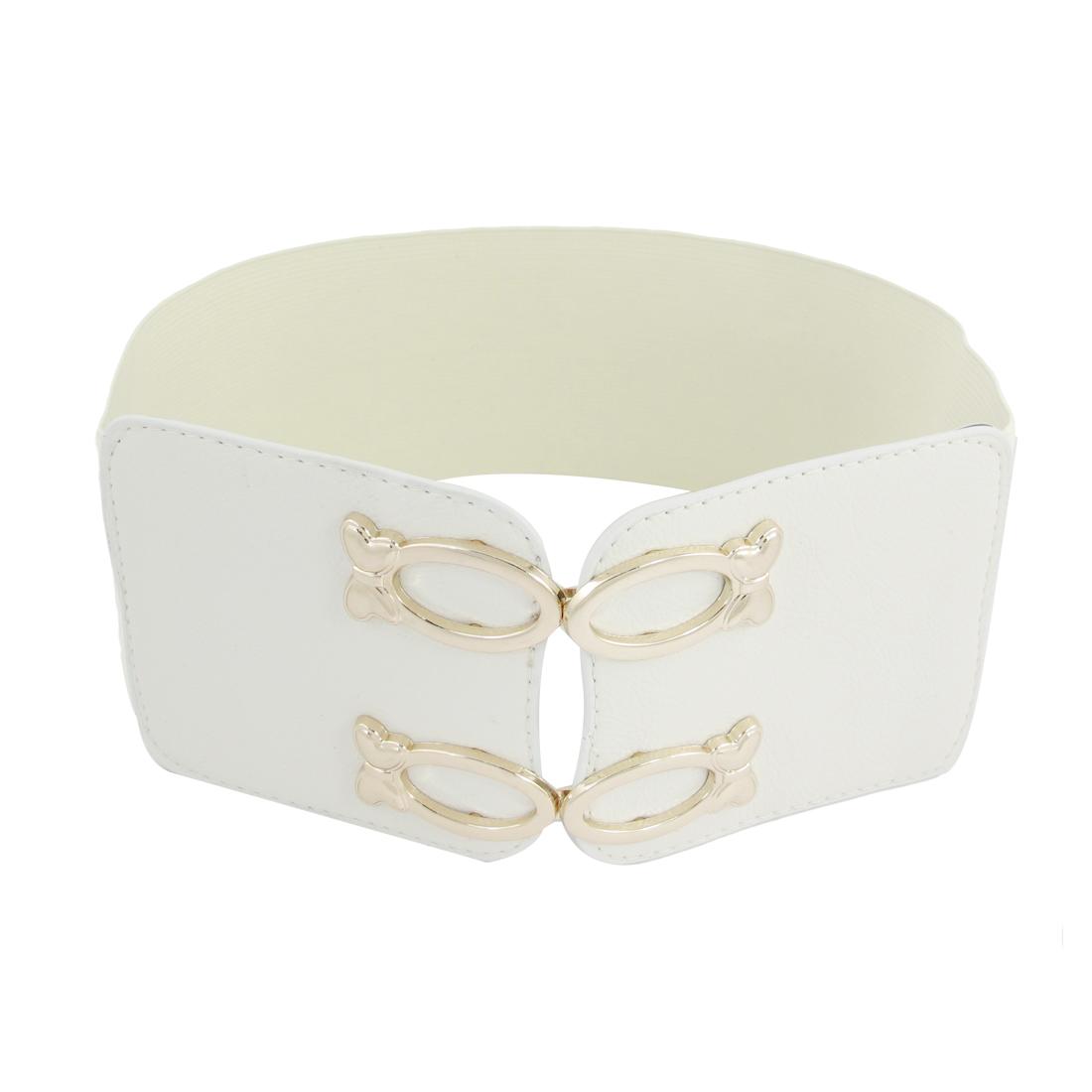 White Double Buckle Adornment Strechy Band Waist Belt Textured for Women