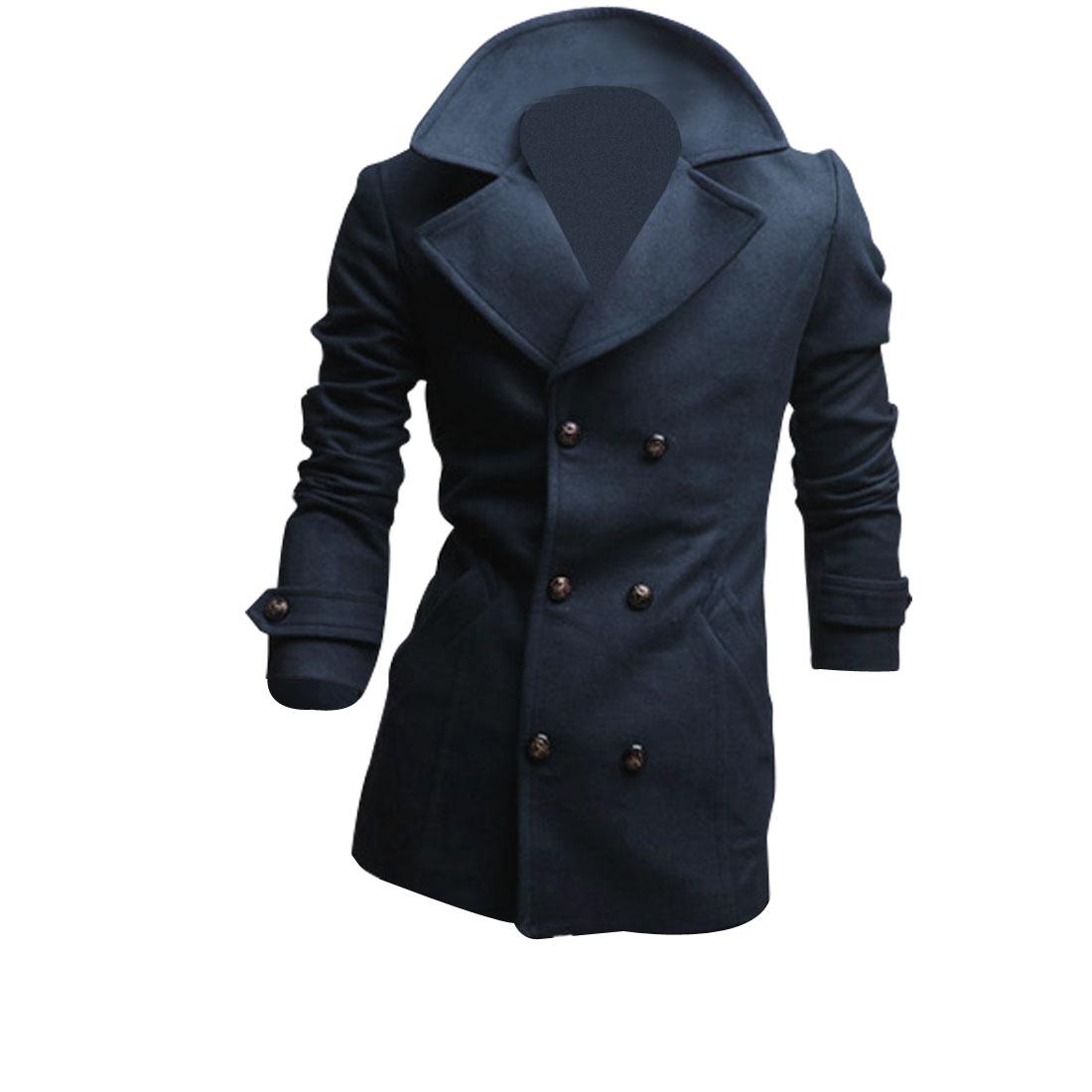 Navy Blue M Notched Lapel Button Front Closure Slim Fit Men Jacket