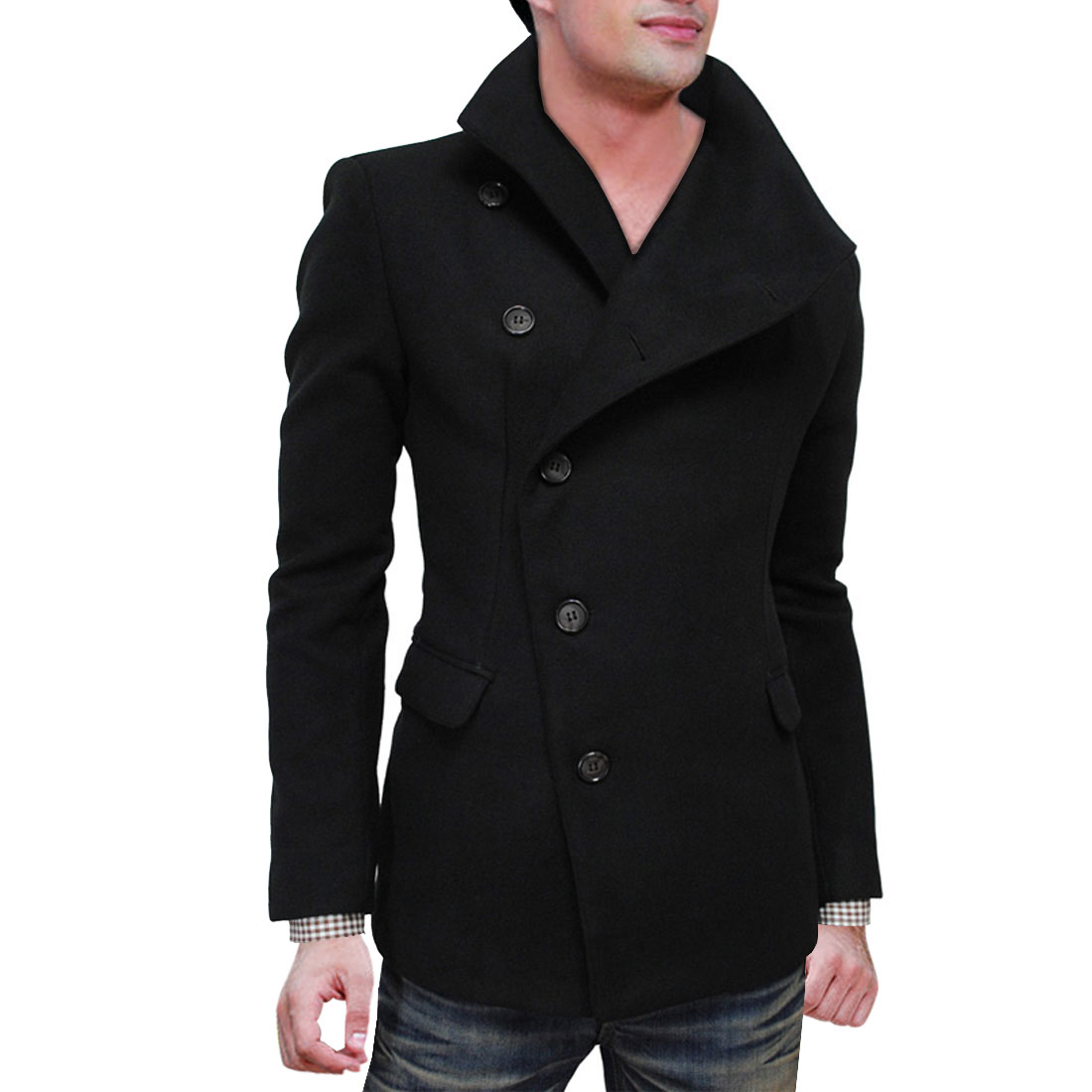 Black M Notched Lapel Flap Pockets Button Front Style Jacket Coat for Men