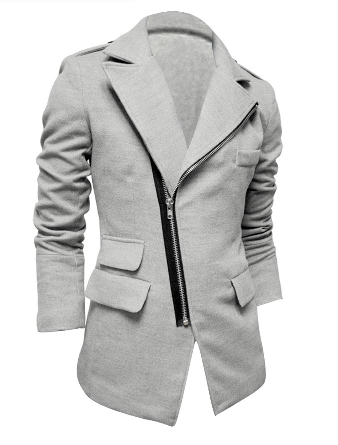 Light Grey M Slim Fit Long Sleeve Notched Lapel Jacket Coat for Men