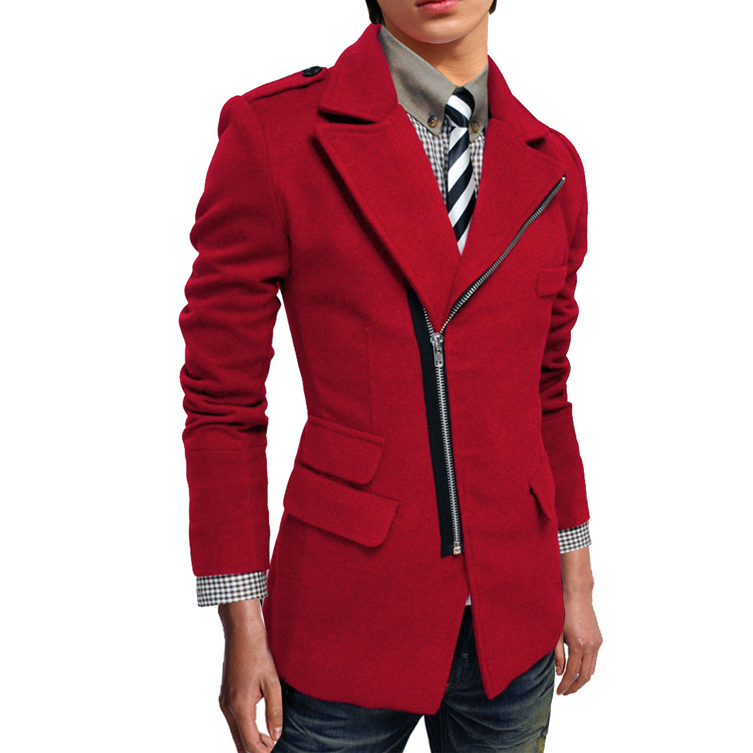 Men M Red Long Sleeve Zip Closure Patch Pockets Skinny Casual Jacket