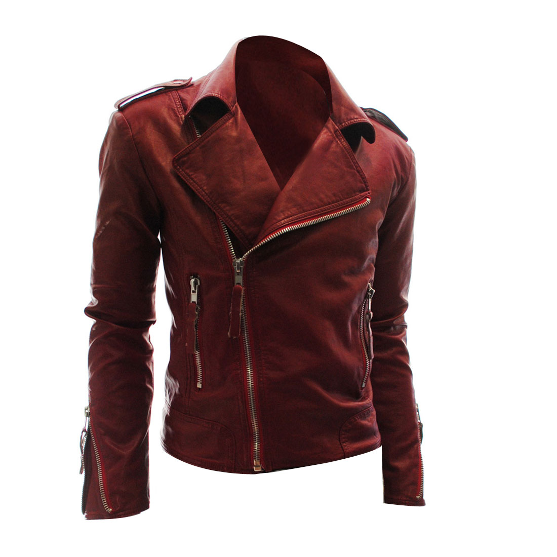 Men Burgundy M Asymmetrical Zipper Front Motorcycle Stylish Jacket Outwear
