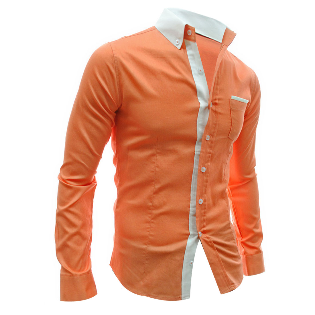 Man Chic Orange Color Point Collar Long Sleeved Button Down Shirt M