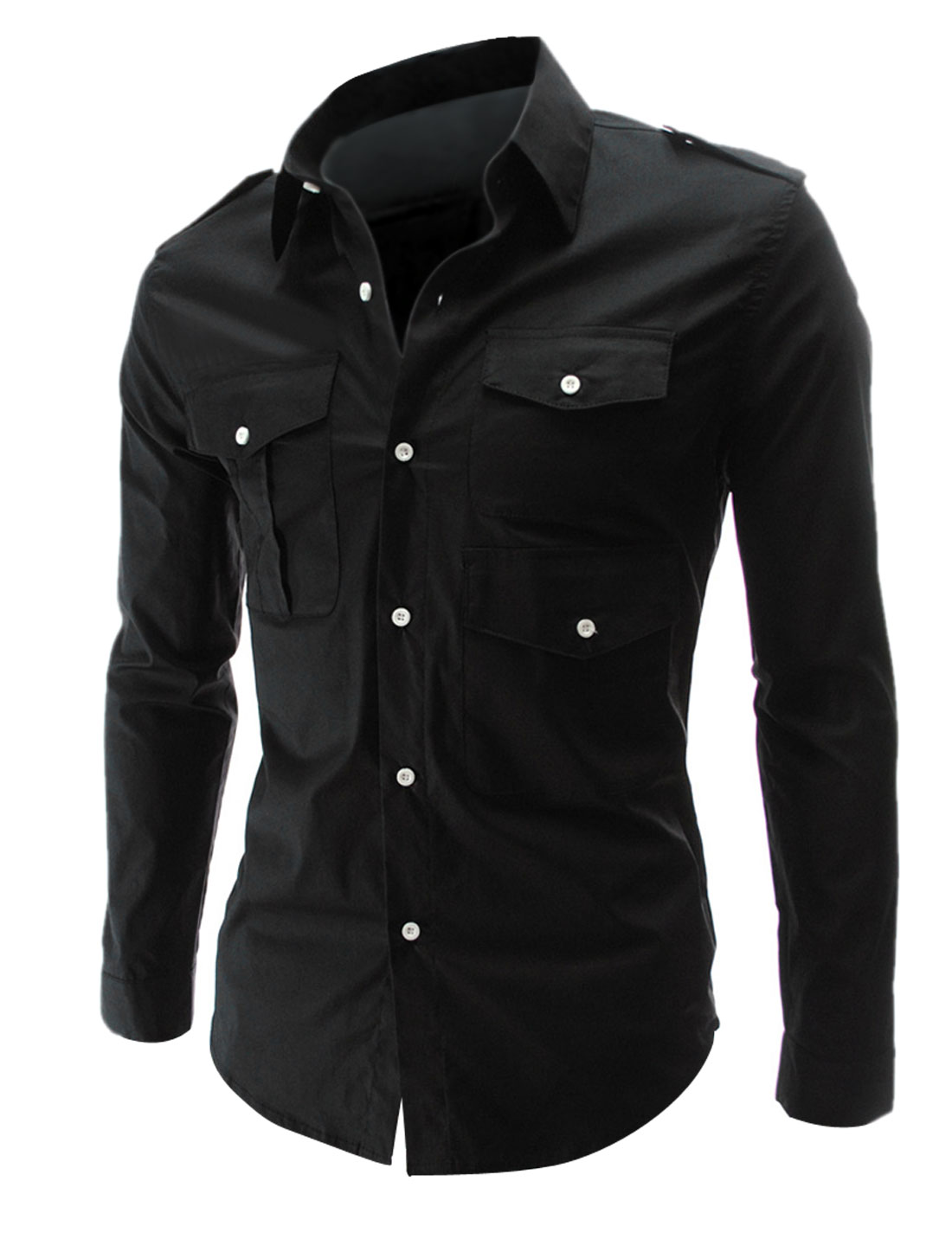 Mens Single-Breasted Front Button-Tab Epaulets Design Black Shirt M