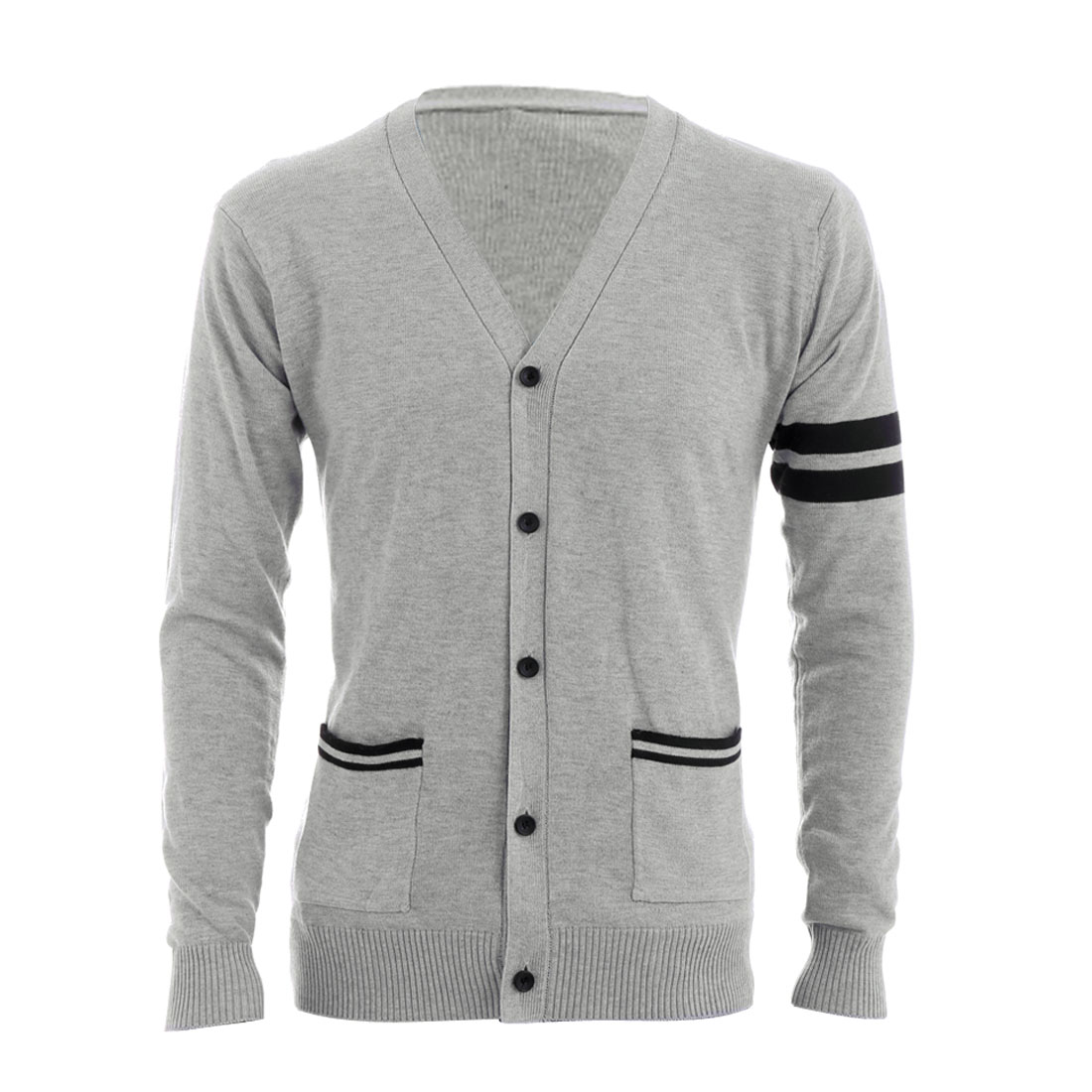 Light Grey M Collarless Front Button Closure Design Slim Fit Men Cardigan