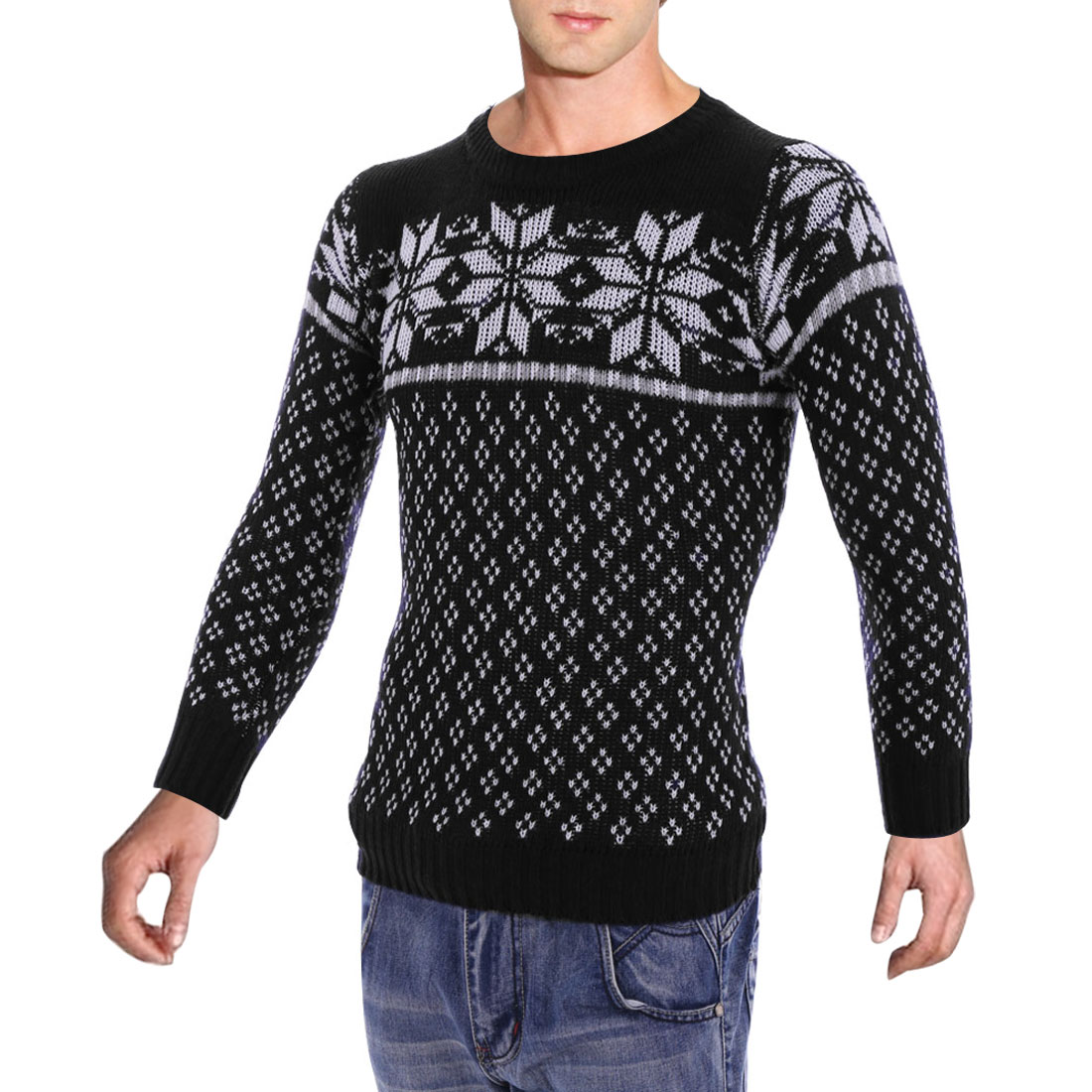 Men Black S Long Sleeve Snowflake Pattern Round Neck Pullover Sweater