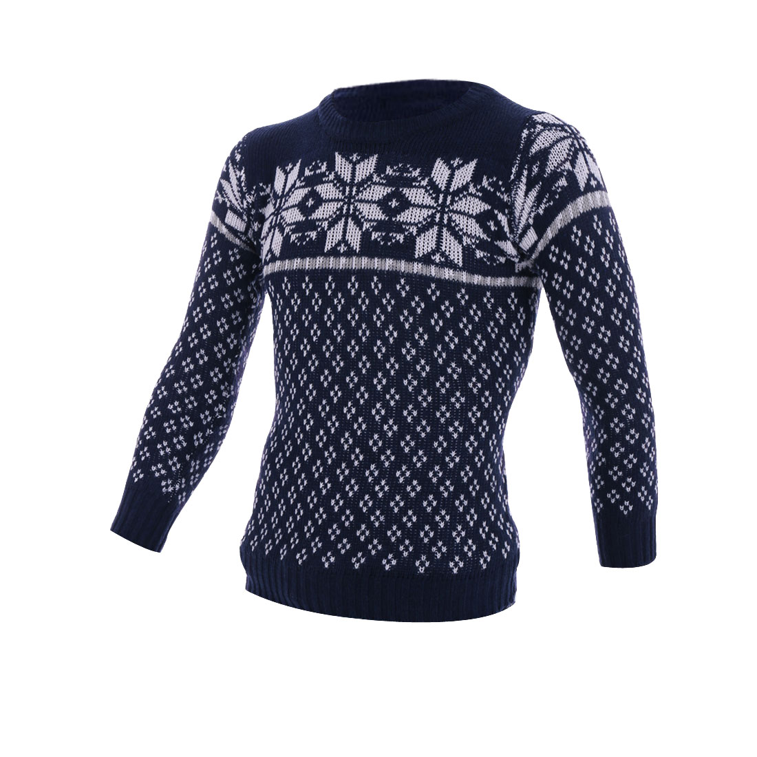 S Navy Blue Snowflake Pattern Crewneck Color Block Knit Men Sweater