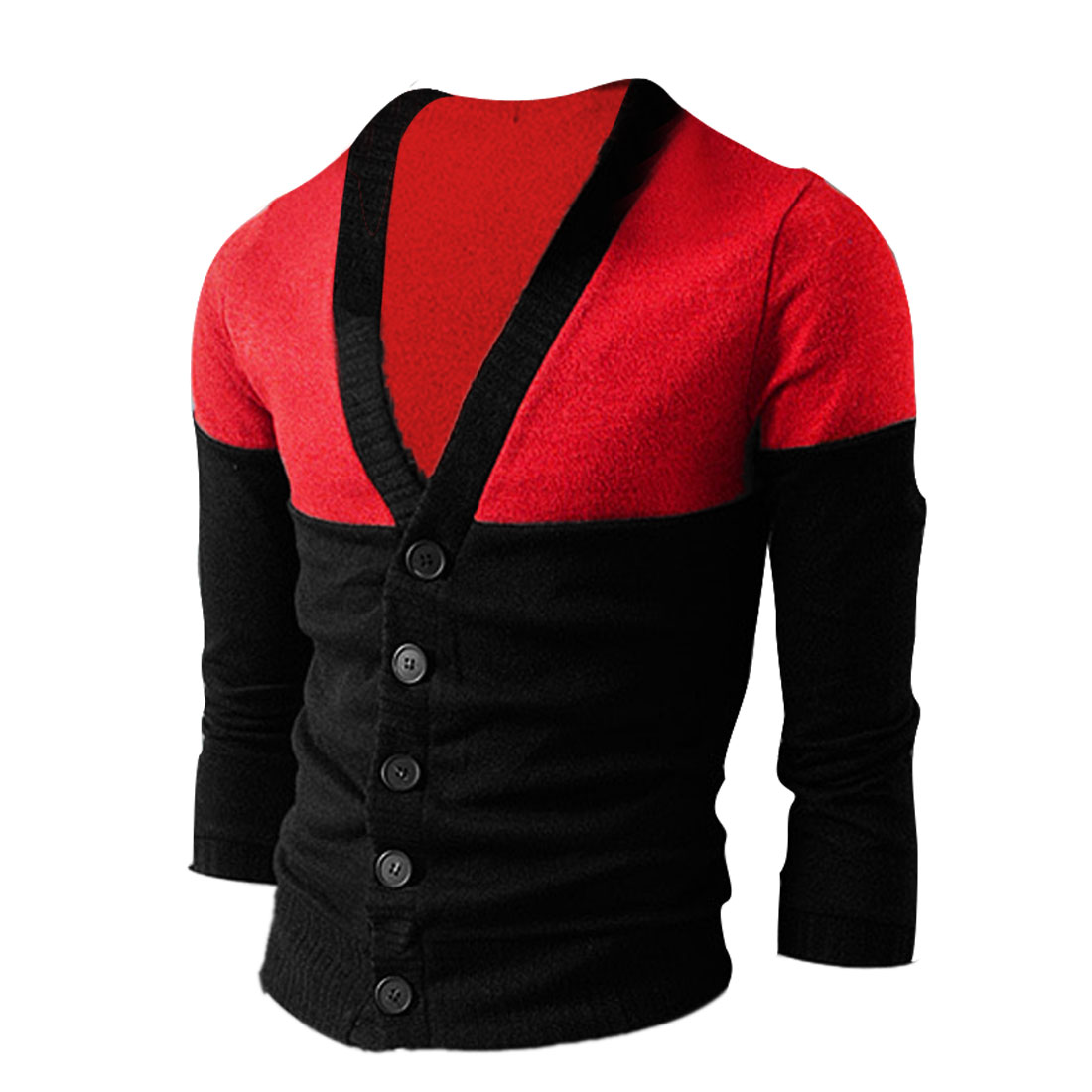 Men Chic Red Black Contrast Color Button Down Knitted Cardigan Coat M
