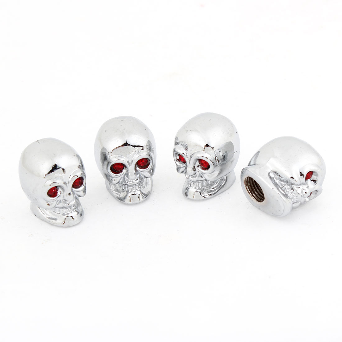 Car Metal Skull Head Shaped Tire Valve Stem Cap Cover Silver Tone Red x 4