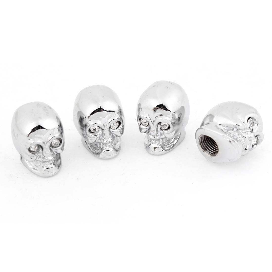 Car Metal Skull Head Shaped Tire Valve Stem Cap Cover Silver Tone Clear x 4