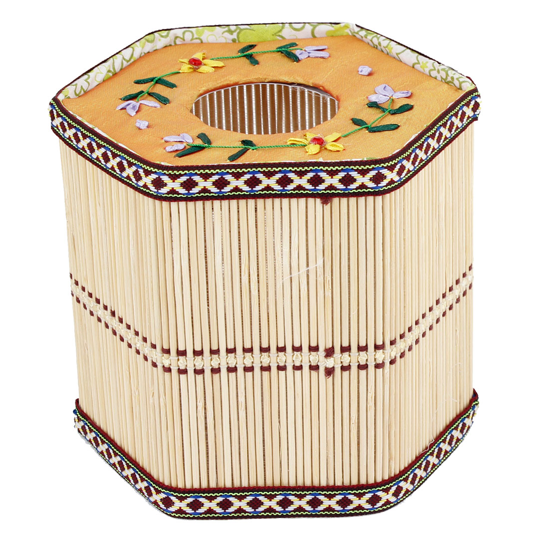 Home Beige Embroidered Cover Bamboo Tissue Box Holder Paper Container