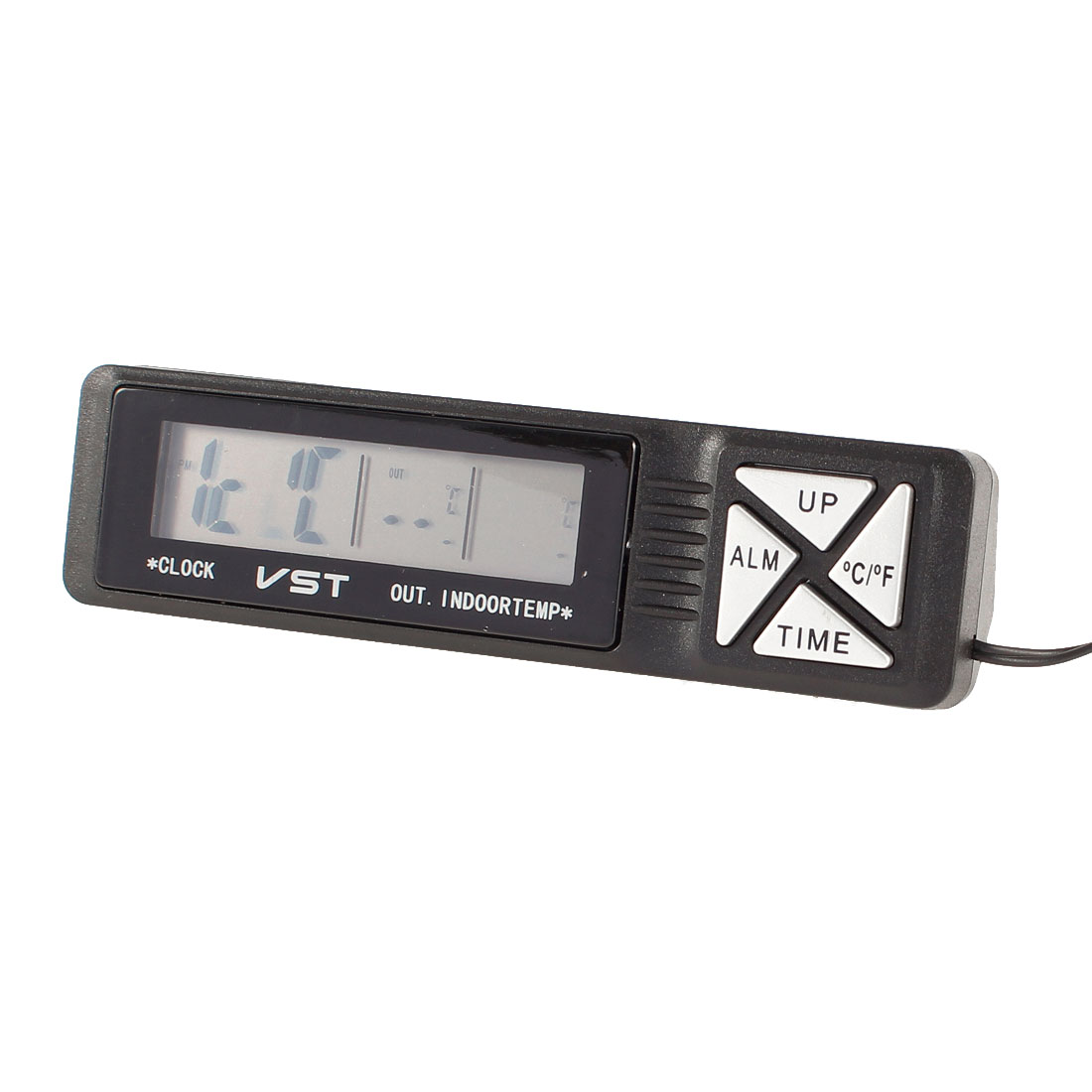 Plastic LCD Display Indoor Digital Clock Thermometer Black for Car