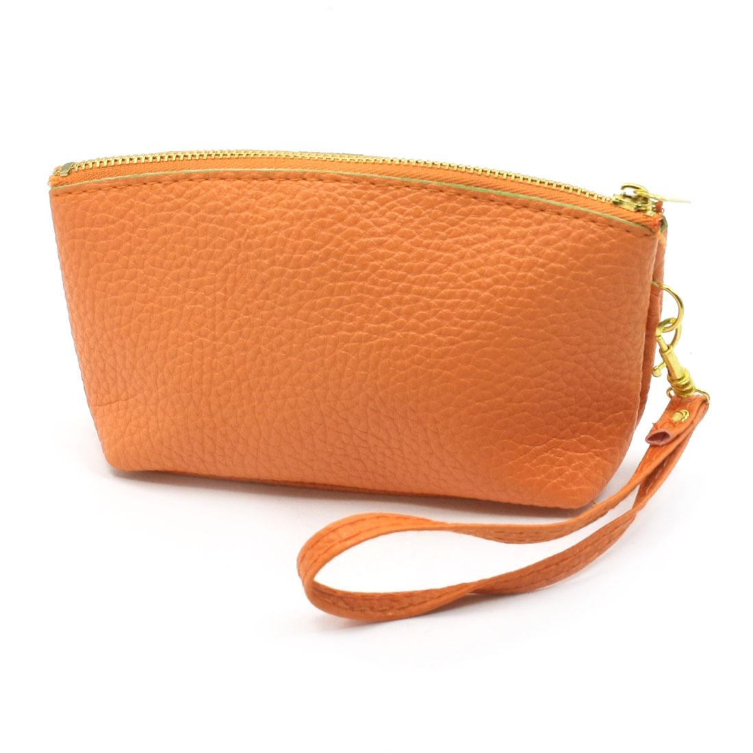Women Zipper Closure Litchi Pattern Faux Leather Change Purse Bag Orange