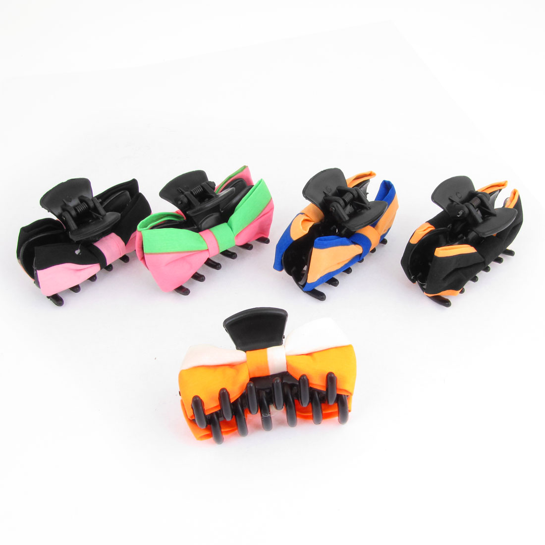 5 Pcs Colorful Plastic Nylon Bowknot Decor Hairclip Clamps Claws for Ladies