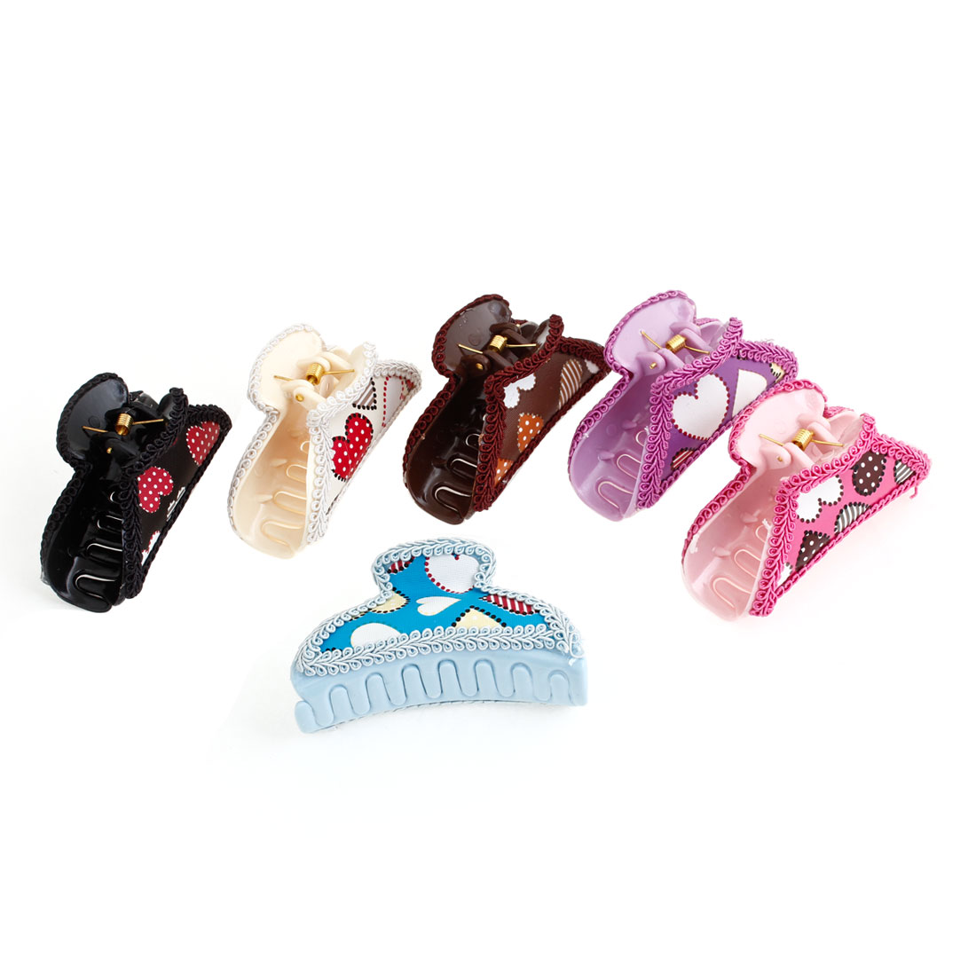 6 Pcs Colorful Faux Leather Coated Heart Pattern Hairclip Clamps Claws
