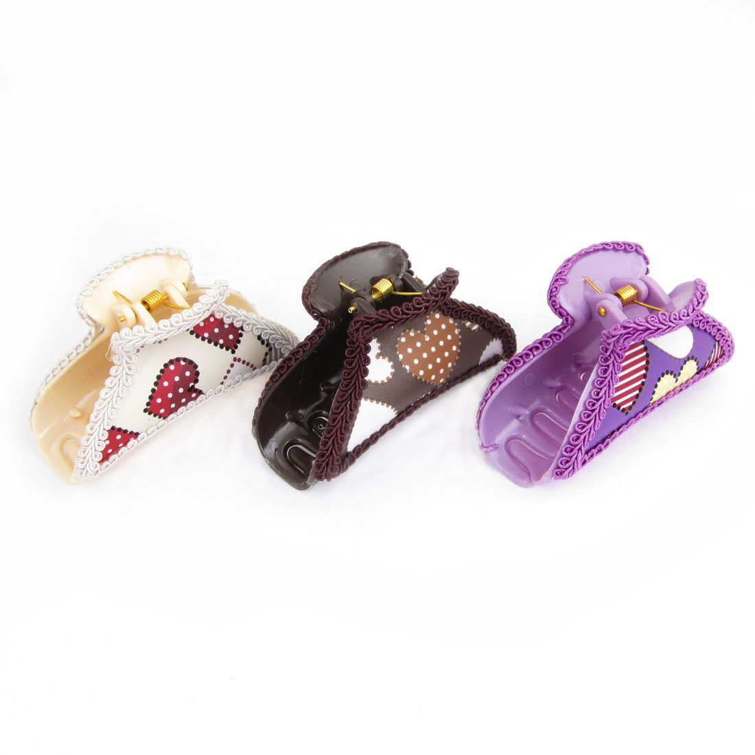 3 Pcs Colorful Faux Leather Heart Pattern Decor Hairclip Clamps Claws
