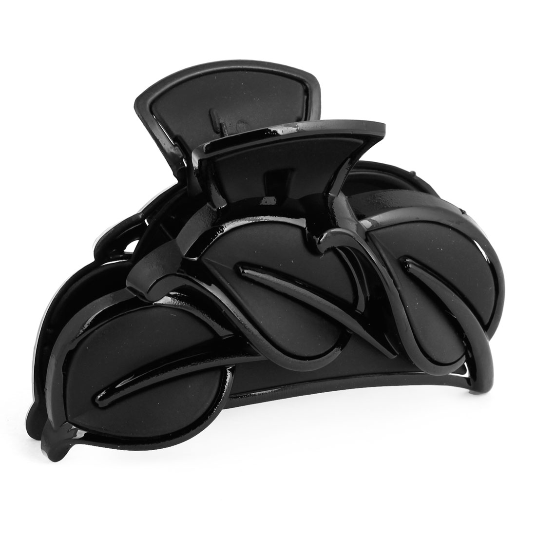 Black Plastic Leaves Accent Hairclip Clamp Claw for Women