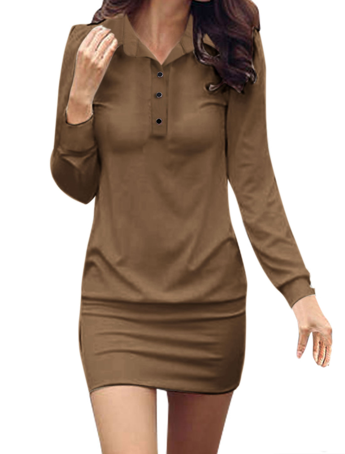 Woman NEW Pure Coffee Color Button Decor Side Elgant Mini Dress L