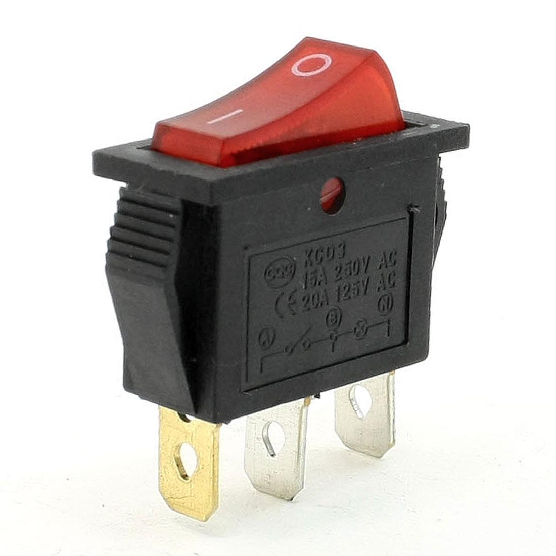 15A 250VAC 20A 125VAC 3 Terminals SPST Red Light Pilot Lamp Rocker Switch
