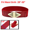 Red Faux Leather Triangle Style Buckle Elastic Waistband Waist Belt for Ladies