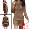 Women Point Collar Button Upper Long Sleeves Mini Dress Coffee L
